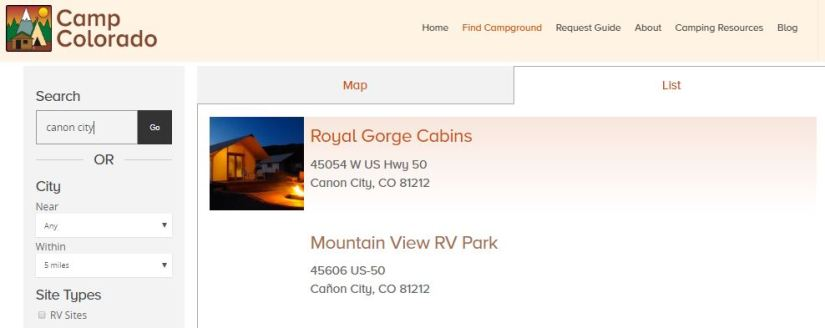 Sample of a member and non-member search results on CampColorado.com
